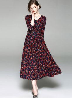 V-neck Floral A Line Maxi Dress