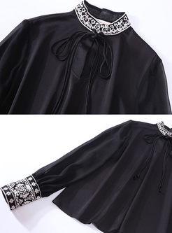 Black Mock Neck Embroidered Silk Blouse