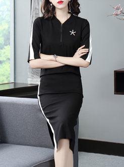 V-neck Half Sleeve Slim Midi Suit Dress