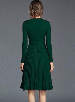 V-neck Long Sleeve A Line Sweater Dress