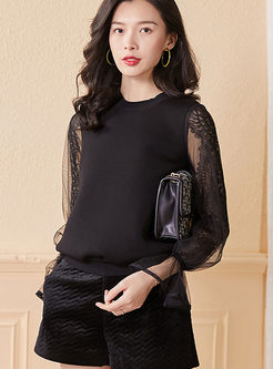 Black Pullover Mesh Patchwork Sweatshirt