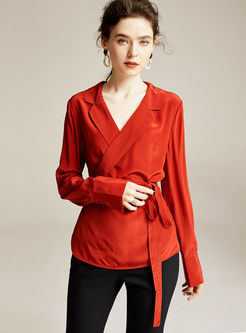 Solid Color Notched Slim Silk Blouse