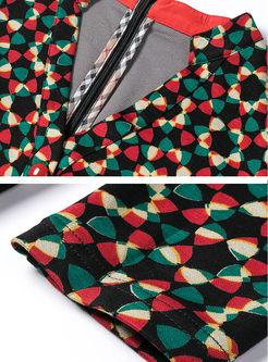 V-neck Geometric Print Skater Dress With Belt