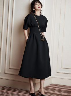 Crew Neck High Waisted A Line Cocktail Dress