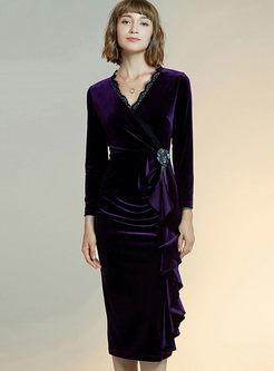 V-neck Long Sleeve Lace Patchwork Bodycon Dress