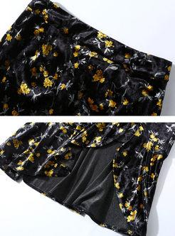 Turtleneck Pullover Slim Print Bodycon Suit Dress