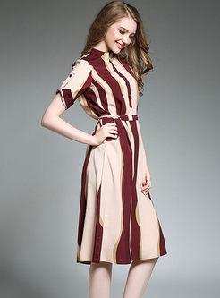 Mock Neck Striped Chiffon Skater Dress