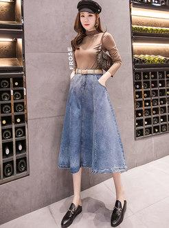 High Waisted A Line Denim Skirt