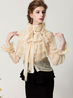 Sexy Tied-collar Falbala Flare Sleeve Blouse