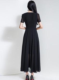 Crew Neck Short Sleeve Big Hem Maxi Dress