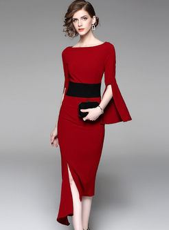 Slash Neck Long Sleeve Slit Homecoming Dress