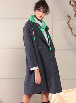 Lapel Long Sleeve Loose Peacoat With Pockets