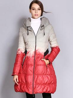 Mock Neck Color-blocked Slim Puffer Coat
