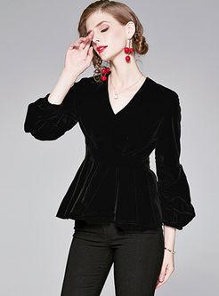 Black V-neck Lantern Sleeve Velvet Blouse