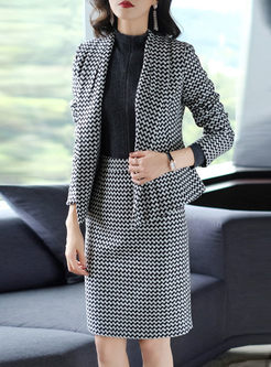 Notched Houndstooth Bodycon Suit Dress