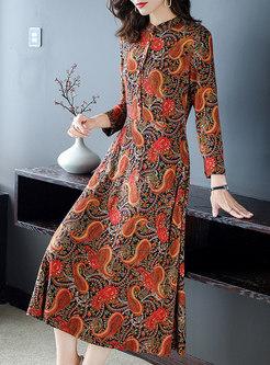 Mock Neck Long Sleeve Print A Line Dress