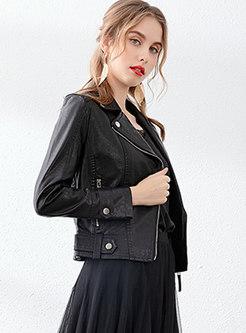 Notched PU Side Zipper Short Biker Jacket