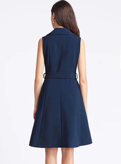 Notched Sleeveless Double-breasted Skater Dress