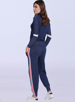 Mock Neck Long Sleeve Sweater Pant Suits