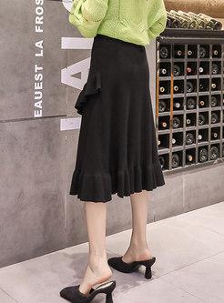 Solid Color High Waisted Falbala Sweater Skirt