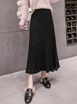 High Waisted Falbala Sweater Maxi Skirt