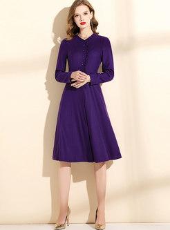 Purple Long Sleeve Wool Blend Skater Dress