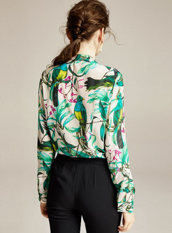 Bowknot Mock Neck Silk Print Blouse