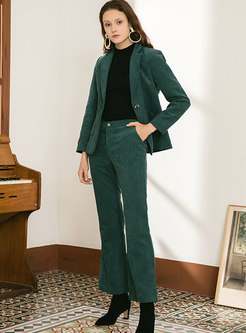 Notched Slim Straight Corduroy Pant Suits