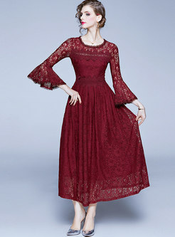 Wine Red Flare Sleeve Lace Party Maxi Dress