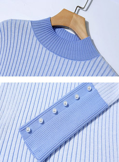 Turtleneck Pullover Slim Striped Sweater