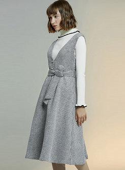 Turtleneck Slim Sweater Houndstooth Suit Dress