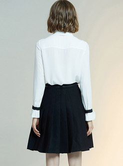 Bowknot Lapel Slim A Line Suit Dress