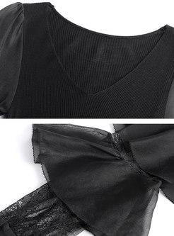 Black Falbala Patchwork Long Sleeve Mini Dress