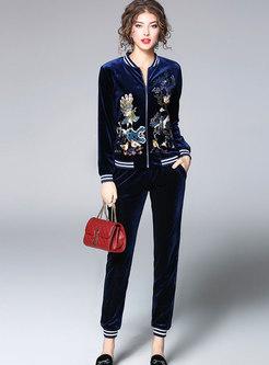 V-neck Embroidered Velvet Slim Pant Suits