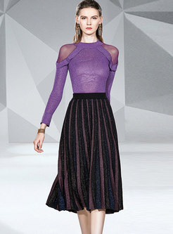 Mesh Patchwork Sweater Pleated Suit Dress