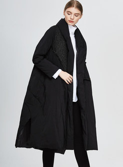 Black Fringed Sequin Plus Size Long Down Coat