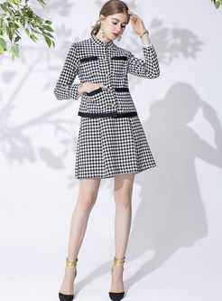 Mock Neck Houndstooth A Line Suit Dress