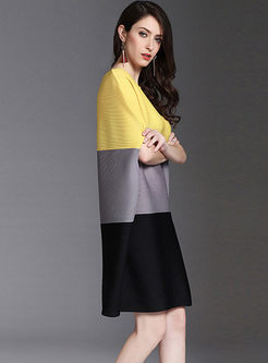 Crew Neck Color-blocked Loose Shift Dress