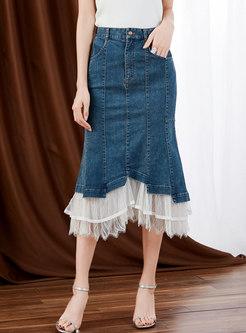 High Waisted Denim Patchwork Mesh Peplum Skirt