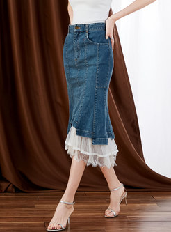 High Waisted Denim Patchwork Mesh Peplum Skirt