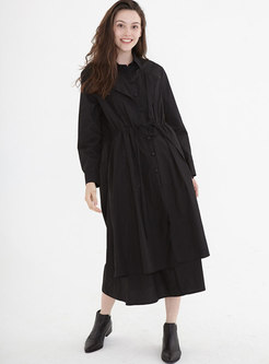 Black Single-breasted Long Shift Shirt Dress