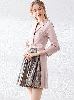 Notched Patchwork Plaid Pleated Mini Dress