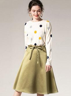 Crew Neck Polka Dot A Line Suit Dress