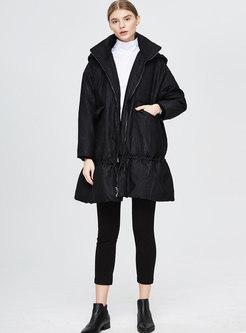 Plus Size Lapel Drawcord Loose Down Coat