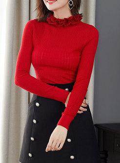 Ruffed Neck Pullover Slim Sweater