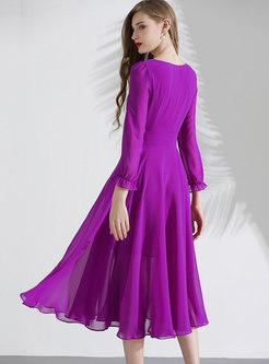 Purple Long Sleeve A Line Chiffon Dress