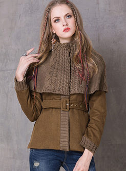 Brown Slim Belted Poncho Wool Blended Coat