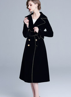 Notched Velvet Long A Line Peacoat With Belt