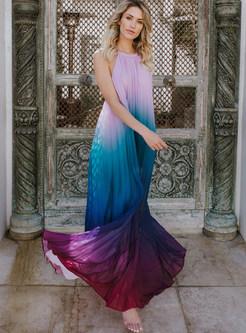 Backless Color-blocked Chiffon Beach Maxi Dress