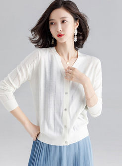 Solid Color Single-breasted Short Cardigan